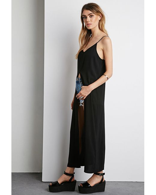 Forever 21 | Black Longline Vented Crepe Cami | Lyst