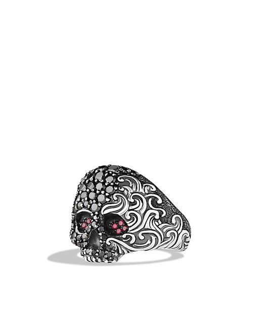 David Yurman | Red Waves Small Skull Ring With Ruby And Black Diamonds for Men | Lyst