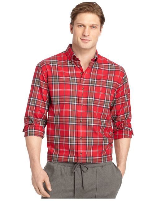 Izod big and tall long sleeve plaid oxford shirt in red for Big n tall shirts