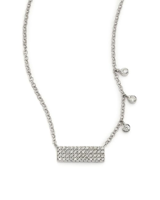Meira T | Diamond & 14k White Gold Bar Pendant Necklace | Lyst