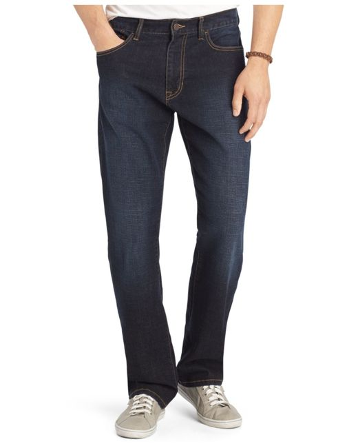 Types of men's big and tall jeans. Relaxed fit jeans are roomy and comfortable, and regular fit choices offer a more tailored appearance. Most are cotton with a touch of spandex or elastane for increased give and added comfort.