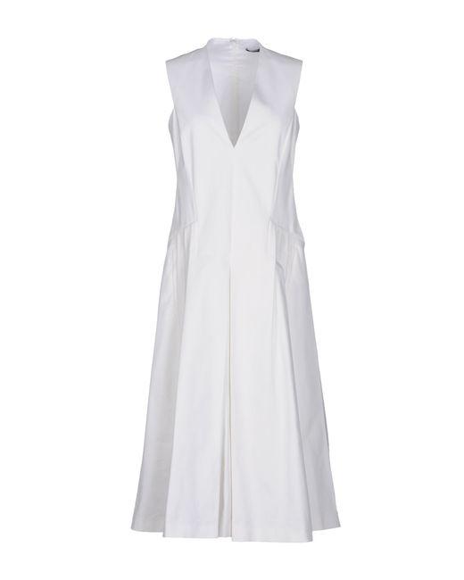 Jil Sander Navy   White 3/4 Length Dress   Lyst