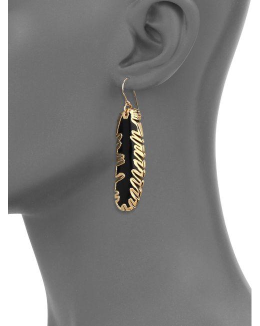 Nest | Metallic Horn Feather Drop Earrings | Lyst