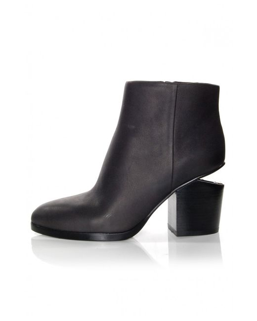 Alexander Wang | Black Gabi Leather Silver-Cutout Ankle Boots | Lyst