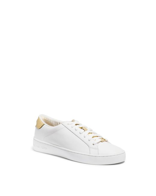 michael kors irving leather sneaker in white white pale. Black Bedroom Furniture Sets. Home Design Ideas
