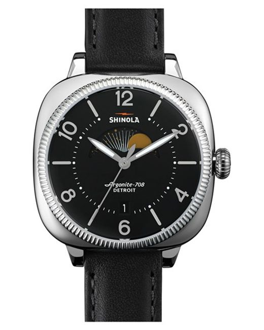 Shinola | Black 'gomelsky' Square Moon Phase Leather Strap Watch | Lyst