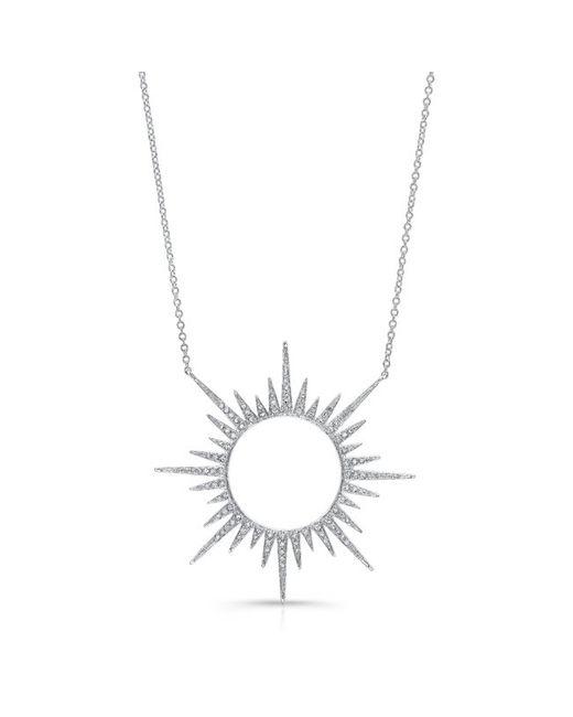Anne Sisteron - Metallic 14kt White Gold Diamond Open Sunburst Necklace - Lyst
