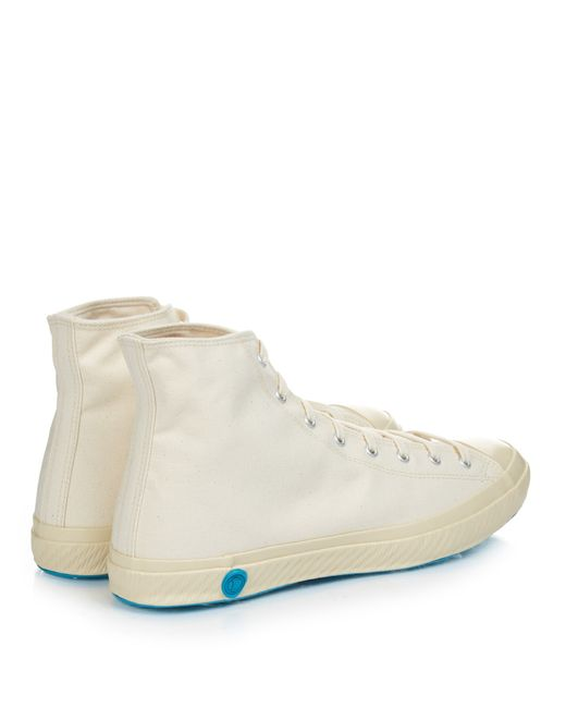 shoes like pottery high top canvas trainers in white for