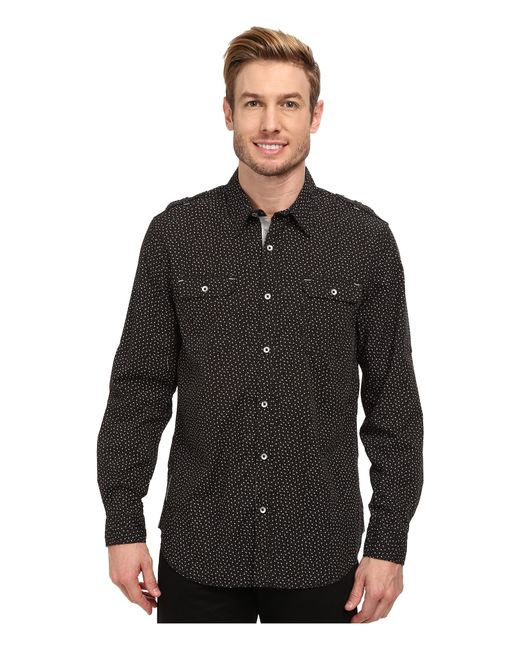 Dkny long sleeve roll tab mini print shirt enzyme wash in for Men s roll tab sleeve shirts