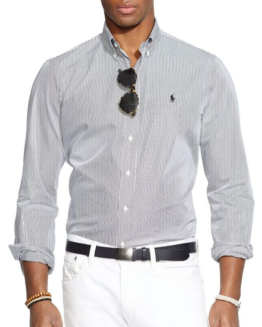 Polo Ralph Lauren | Black Hairline-striped Poplin Button Down Shirt - Classic Fit for Men | Lyst
