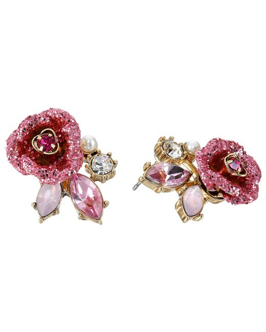 Betsey Johnson | Pink Glitter Rose Stud Earrings | Lyst
