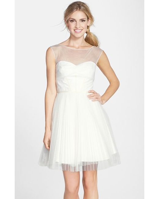 Monique Lhuillier Bridesmaids | White Illusion Yoke Tulle Fit & Flare Dress | Lyst