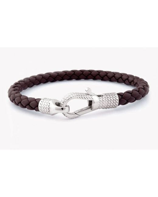Tateossian | Ziggy Bracelet In Brown Leather With Silver Clasp for Men | Lyst