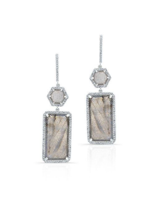 Anne Sisteron | Metallic 14kt Yellow Gold Labradorite Diamond Geometric Earrings | Lyst