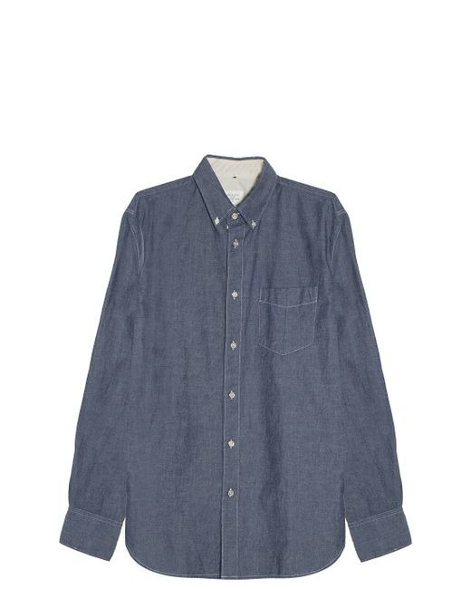 Rag bone chambray shirt in blue for men navy save 60 for Rag and bone mens shirts sale