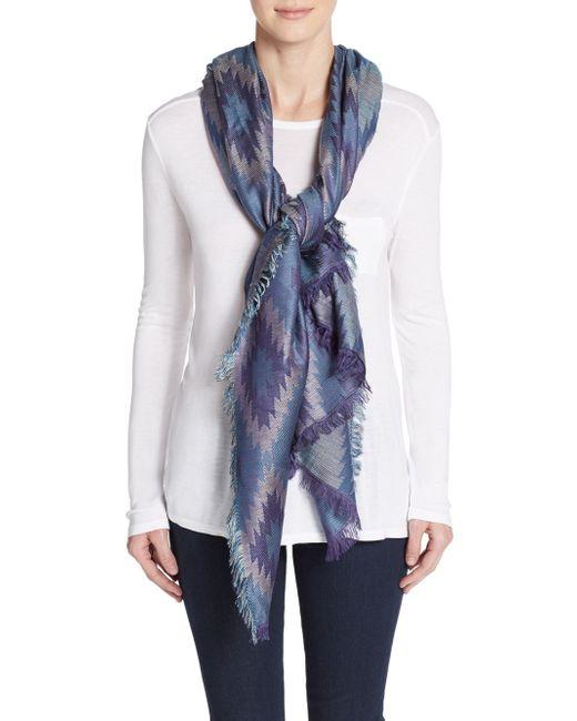 saks fifth avenue geo print blanket scarf in blue lyst