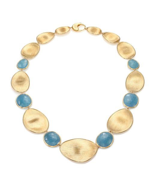 Marco Bicego | Blue Lunaria Aquamarine & 18k Yellow Gold Medium Collar Necklace | Lyst