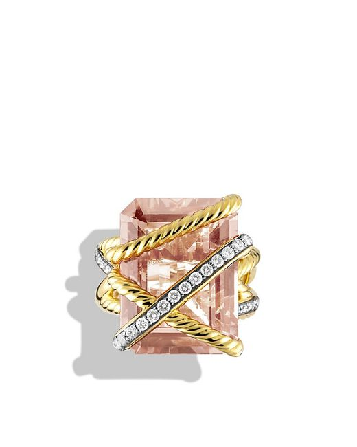 David Yurman | Pink Cable Wrap Ring With Morganite And Diamonds In 18k Gold | Lyst
