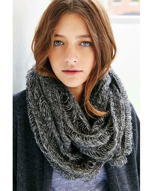 Urban Outfitters | Gray Drop Needle Shred Eternity Scarf | Lyst