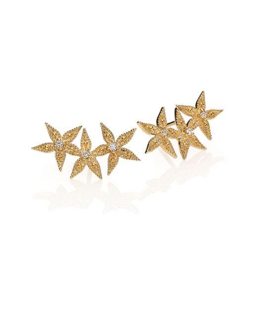 Mizuki | Metallic Diamond & 14k Yellow Gold Three-flower Earrings | Lyst