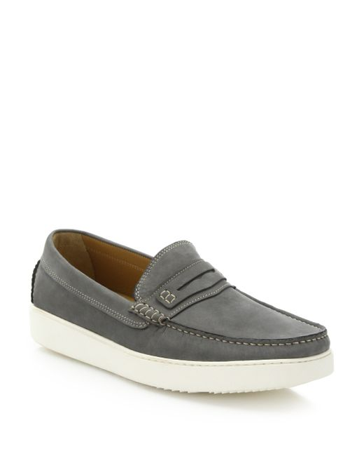 Saks Fifth Avenue | Gray Nubuck Penny Loafers for Men | Lyst