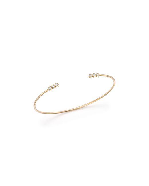 Zoe Chicco | Metallic 14k Gold 3 Diamond Open Cuff Bracelet | Lyst