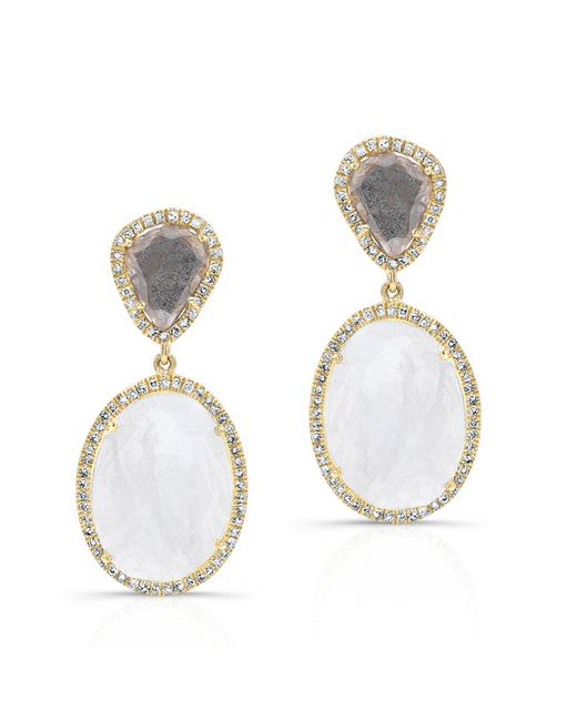 Anne Sisteron | 14kt Yellow Gold Organic Moonstone And Diamond Slice Earrings | Lyst