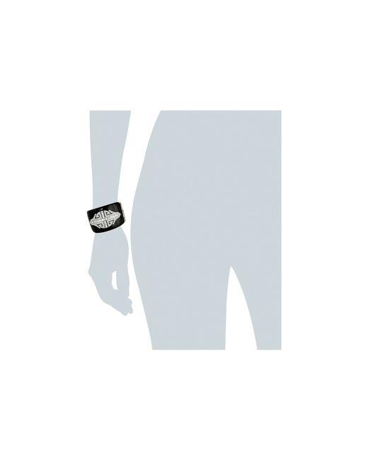 Kenneth Jay Lane | Black Enamel With Rhodium And Rhinestone Deco Cuff Bracelet | Lyst