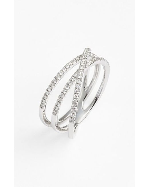 Bony Levy | White Crossover Three-row Diamond Ring (nordstrom Exclusive) | Lyst