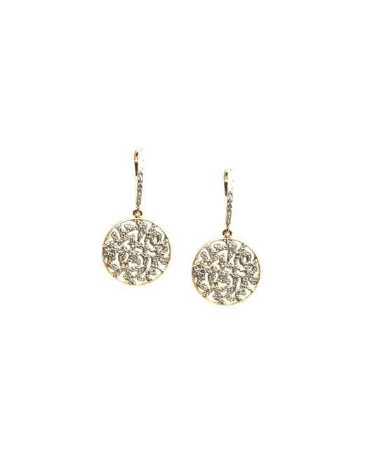 Trésor   Metallic Signature Logo Diamond Earrings On A Huggies In K Yellow Gold   Lyst