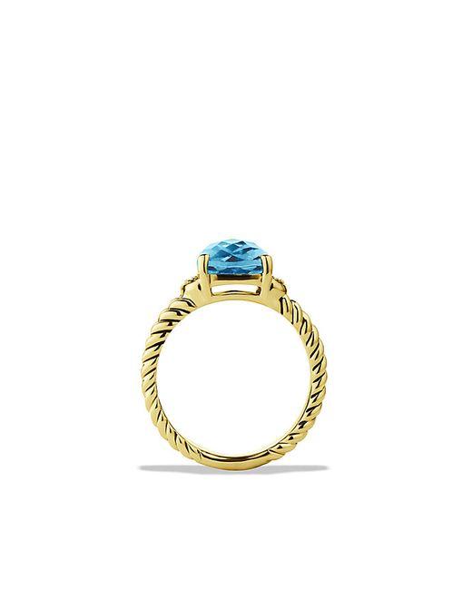 David Yurman   Petite Wheaton Ring With Hampton Blue Topaz And Diamonds In Gold   Lyst