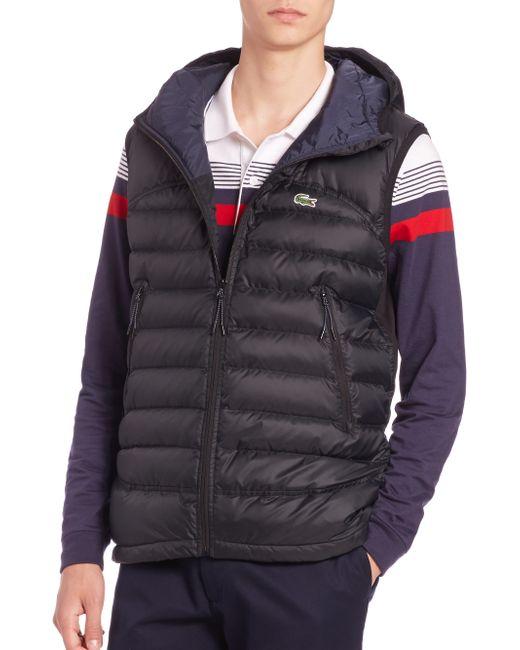 Lacoste | Black Hooded Puffer Vest for Men | Lyst