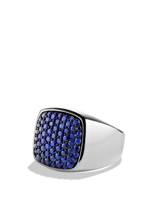 David Yurman | Metallic Pavé Signet Ring With Blue Sapphire for Men | Lyst