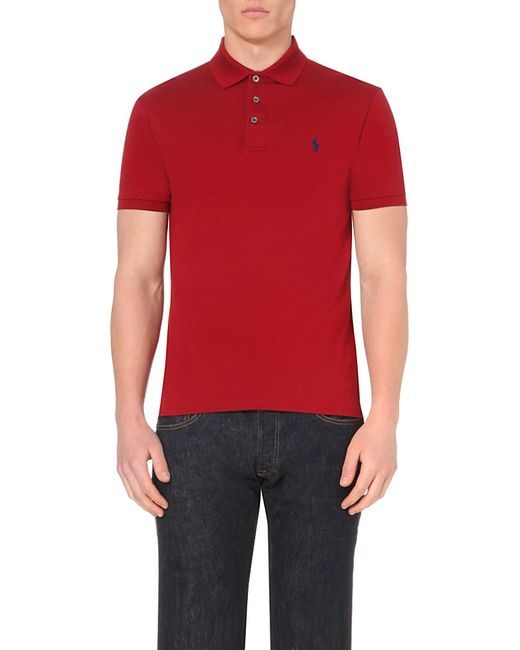 Polo Ralph Lauren | Red Slim-fit Stretch-cotton Polo Shirt for Men | Lyst
