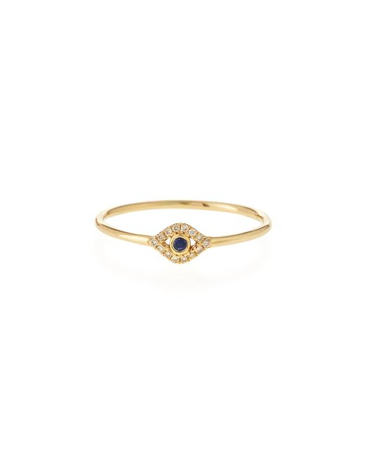 Sydney Evan | Metallic 14k Gold Small Diamond Evil Eye Ring | Lyst