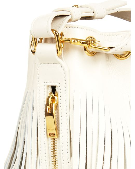 ysl chyc cabas red - emmanuelle small leather fringe hobo bag, white