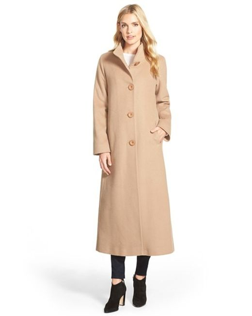 Fleurette | Natural Cashmere Long Stand Collar Coat | Lyst