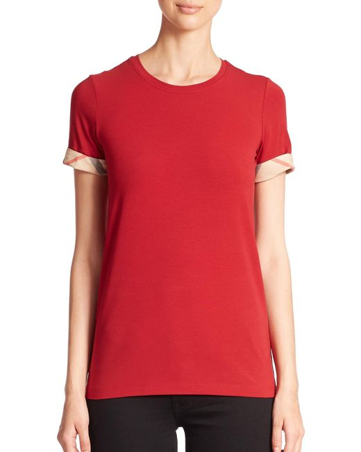 Burberry Brit | Red Check-Cuffed Tee | Lyst
