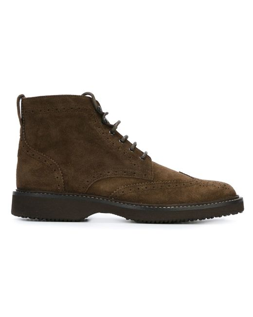 brogue detailing ankle boots in brown for lyst