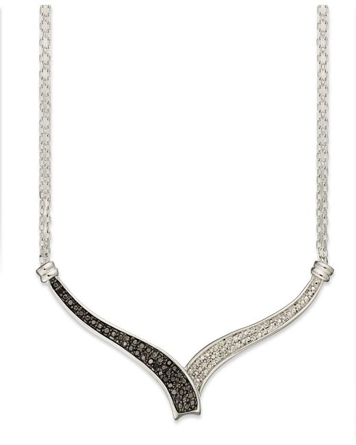 Macy's | Black (1/4 Ct. T.W.) And White Diamond Accent Bypass Necklace In Sterling Silver | Lyst