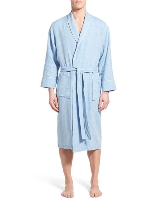 Daniel Buchler Washed Linen Robe In Blue For Men Sky Blue