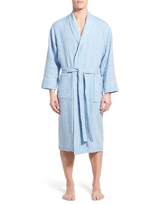 Daniel Buchler Washed Linen Robe In Blue For Men Sky Blue