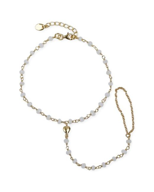 Argento Vivo | Metallic Beaded Heart Charm Hand Chain | Lyst