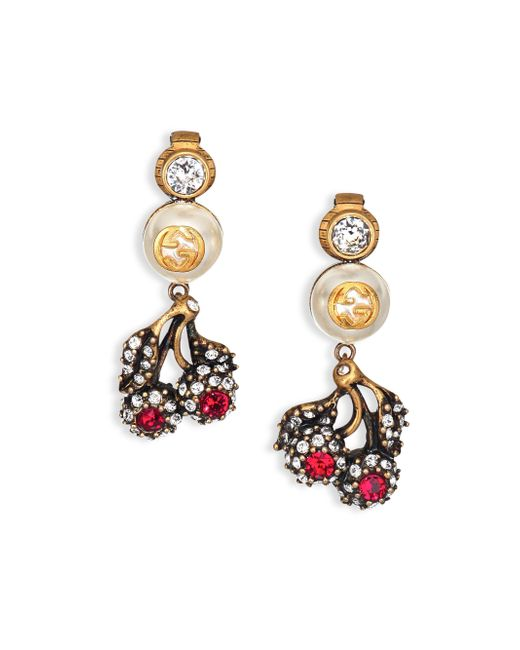 Gucci Floral Crystal & Faux Pearl Clip-on Drop Earrings In