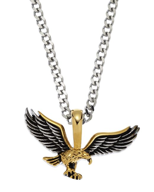 blackjack silver tone gold tone eagle pendant necklace
