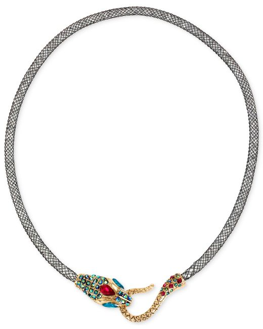 Betsey Johnson | Metallic Gold-tone Mesh Crystal Snake Collar Necklace | Lyst