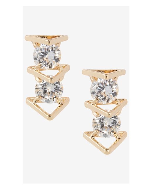 Express | Metallic Cubic Zirconia And Triangle Post Earrings | Lyst