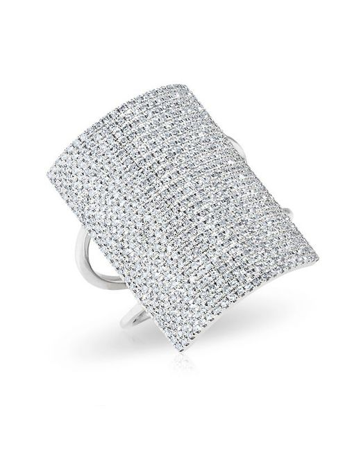 Anne Sisteron | Metallic 14kt White Gold Diamond Rectangle Armor Ring | Lyst