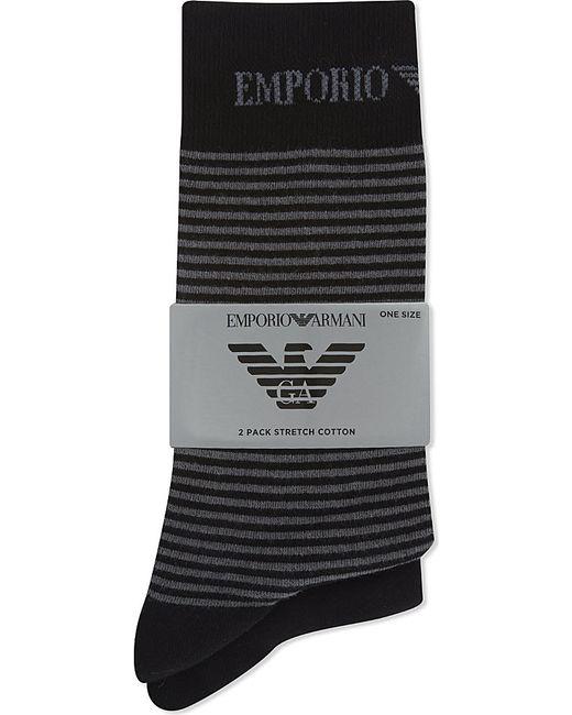 Emporio Armani   Black Plain And Striped Socks 2-pack for Men   Lyst