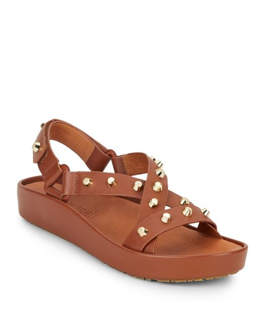 Gentle Souls | Brown Uconn Studded Suede Sandals | Lyst